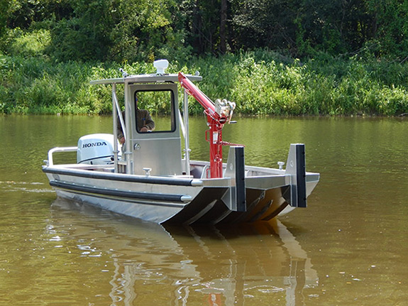 20 ft Push Work Boat Model 2072 with Crane Lift